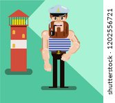 the mighty cartoon sailor with... | Shutterstock .eps vector #1202556721