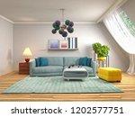 interior of the living room. 3d ... | Shutterstock . vector #1202577751