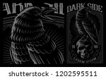 black raven on the skull.... | Shutterstock .eps vector #1202595511