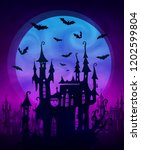 big blue moon with scary castle ...   Shutterstock . vector #1202599804
