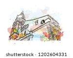 building view with landmark of... | Shutterstock .eps vector #1202604331