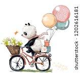 Stock photo little panda on bike 1202616181
