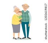 grandparents with grandchildren....   Shutterstock .eps vector #1202619817