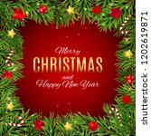 merry christmas and new year... | Shutterstock . vector #1202619871
