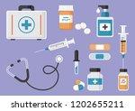 medicine. first aid kit ... | Shutterstock .eps vector #1202655211