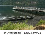 rowboats and  the dock at...   Shutterstock . vector #1202659921