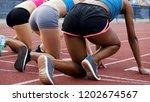 multiracial sportswomen getting ... | Shutterstock . vector #1202674567