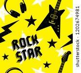 rock music seamless pattern.... | Shutterstock .eps vector #1202674981