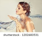 beautiful spa woman with water... | Shutterstock . vector #1202683531