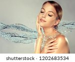 beautiful spa woman with water... | Shutterstock . vector #1202683534
