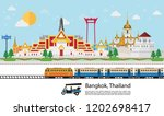 travel to thailand. train... | Shutterstock .eps vector #1202698417