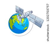 satellite flying orbital flight ... | Shutterstock .eps vector #1202703757