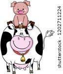 cow and pig are friends  | Shutterstock .eps vector #1202711224