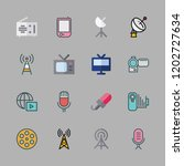 broadcast icon set. vector set... | Shutterstock .eps vector #1202727634