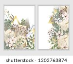 set gold marble and floral... | Shutterstock .eps vector #1202763874