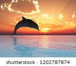 jumping dolphin at sunset   3d... | Shutterstock . vector #1202787874