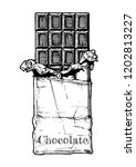 chocolate bar in foil and... | Shutterstock . vector #1202813227