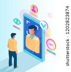 facial recognition face id... | Shutterstock .eps vector #1202823874