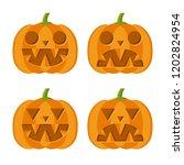 set of halloween pumpkins.... | Shutterstock .eps vector #1202824954