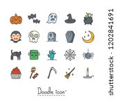 halloween icon set. hand drawn... | Shutterstock .eps vector #1202841691