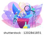 scientists with magnifier... | Shutterstock .eps vector #1202861851