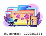 tester and developer work with... | Shutterstock .eps vector #1202861881
