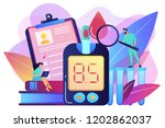 doctor with magnifier and blood ... | Shutterstock .eps vector #1202862037