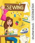 woman works on sewing machine ... | Shutterstock .eps vector #1202866564