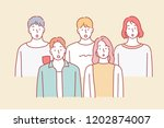 several friends are gathering... | Shutterstock .eps vector #1202874007