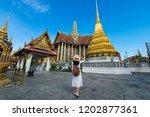 woman tourist is enjoy... | Shutterstock . vector #1202877361