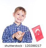 A Little Boy With Turkish Flag...