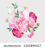a picturesque peony flower.... | Shutterstock .eps vector #1202890327