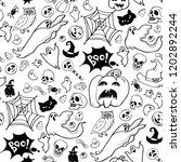 halloween hand drawn elements... | Shutterstock .eps vector #1202892244
