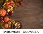thanksgiving dinner background... | Shutterstock . vector #1202903377