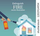 extinguish fire in home.... | Shutterstock .eps vector #1202914954