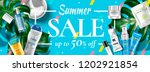 summer sale cosmetic banner ads ... | Shutterstock .eps vector #1202921854