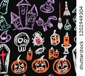 halloween. seamless pattern.... | Shutterstock .eps vector #1202949304