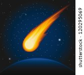 Falling Asteroid. Vector...