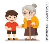 happy old lady with a walker... | Shutterstock .eps vector #1202969974