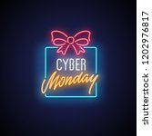 cyber monday neon banner.... | Shutterstock .eps vector #1202976817