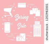 shopping cart  payment terminal ... | Shutterstock .eps vector #1202982001
