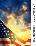 American Flag With Colorful...