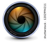 camera photo lens with shutter  ... | Shutterstock .eps vector #1202994211