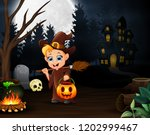 happy little witch holding...   Shutterstock . vector #1202999467