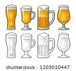 four different glasses for beer.... | Shutterstock .eps vector #1203010447