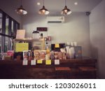 blur background of coffee shop... | Shutterstock . vector #1203026011