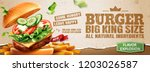 delicious hamburger and fries... | Shutterstock .eps vector #1203026587