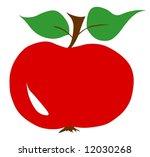 Red apple twig leaf leaves illustration fresh - stock photo