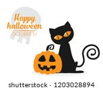 halloween background flat... | Shutterstock .eps vector #1203028894