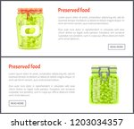 preserved food banners  olives... | Shutterstock .eps vector #1203034357